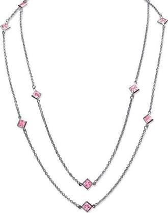 PalmBeach Jewelry Princess-Cut Birthstone Station Necklace in Silvertone - June - Simulated Alexandrite