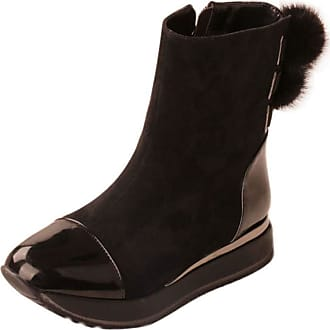 RAZAMAZA Women Fashion Flat Short Boots Zip Party Shoes Two Tone Dress Boots Pompom Black Size 36 Asian