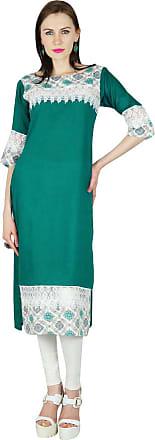 Bimba Women/'s Green Designer tunique brodé Kurta Custom Kurti Blouse