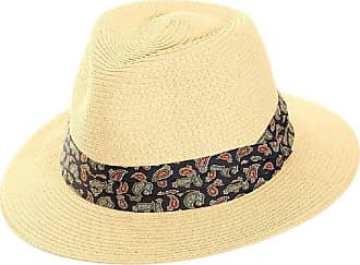 Hawkins Mens Foldable Straw in Panama Shape-Style with Paisley Band Summer Sun Hat (Blue Paisley Band)