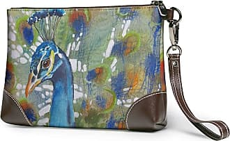 GLGFashion Womens Leather Wristlet Clutch Wallet Pretty Peacock Storage Purse With Strap Zipper Pouch