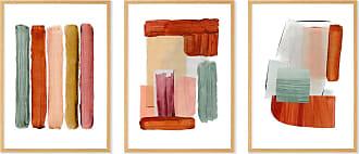 MADE.COM Abstract by Rebecca Hoyes 3 x gerahmte Kunstdrucke (A2), Senfgelb und Hellbraun