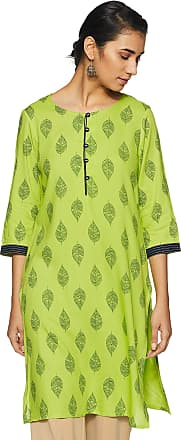 Indigo Womens Rayon Straight Kurti (SS19/IND-533_ Lime_ L)