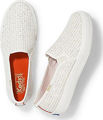 Keds Womens Double Decker Sequin Knit Fashion Sneaker, Cream, 5 M US