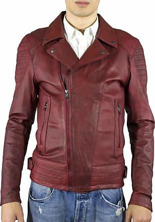 Leather Trend Italy Chiodo Napoli - Giacca Uomo in Vera Pelle colore Bordeaux Invecchiato