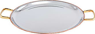 Old Dutch International 2P451H Serving 11- 2 PLY Solid Copper/Stainless Steel Embossed Pattern Base Flat Tray w/Brass Handles