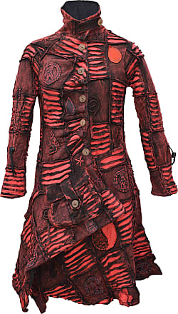Gheri Ladies Asymmetrical Hem Hippy Goth Patchwork Long Coat Red Medium