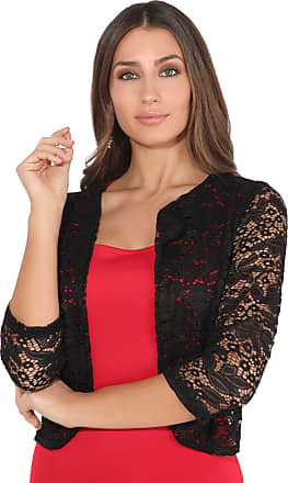 Krisp Women Ladies Lace Shrug Crop Bolero 3/4 Sleeve Top Jacket (Black, LXL), 3918-BLK-LXL