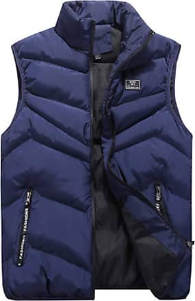 Inlefen Mens Leisure Down Cotton Coat Sleeveless Keep Warm Slim Fit Padded Packable Vest Jacket with Pockets(Blue/2XL)