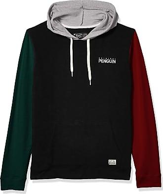 Original Penguin Mens Sweater Long Sleeve French Terry Hoodie Sweatshirt Hooded, Black, XL