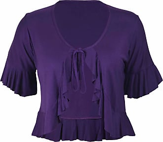 Purple Hanger New Ladies Plus Size Tie Frill Ruffle Shrug Tops Womens Bolero Cropped Stretch Cardigan Top Purple Size 26 - 28
