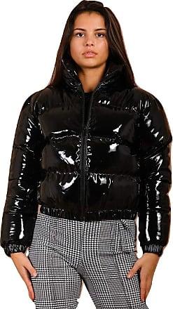 Momo & Ayat Fashions Ladies PVC Leather Cropped Puffer Jacket UK Size 6-14 (Black, UK 6 (EUR 34))