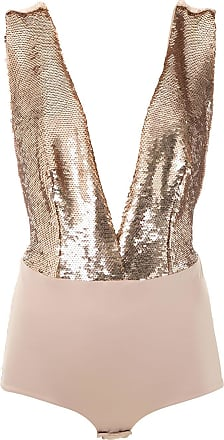 OLYMPIAH low-back sequin-detail bodysuit - GOLD