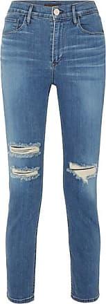 3x1 W4 Colette Cropped Distressed High-rise Slim-leg Jeans - Mid denim
