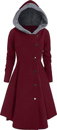 Lazzboy Womens Tailcoat Coat Steampunk Costume Double Breasted Lapel Zipper Irregular Hem Tunic Windbreaker UK 14-22 Oversized Plus Size