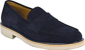 97f3a64b097 Giorgio Armani Mens Navy Suede Penny Bar Leather Loafers