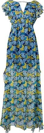 Pinko floral short-sleeve flared dress - Blue