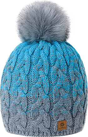 morefaz Women Men Winter Beanie Hat Knitted Chunky Fashion Ski Cap Pom Pom Fleece Lining (Grey Turquoise)