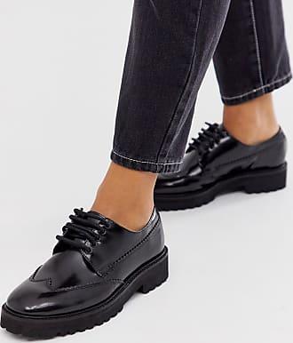 Asos design scarpe stringate nere in pelle con suola beige nero asos neri pelle