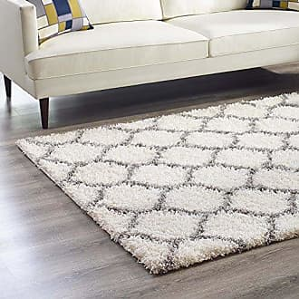 ModWay Modway Solvea Moroccan Trellis 8x10 High Pile Shag Area Rug With Lattice Design In Ivory and Navy