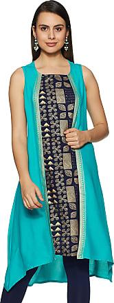 Indigo Womens Rayon a-line Kurta (AW19/IND-1279_ Teal_ Xx-Large)