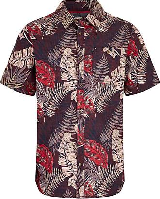 Weird Fish Dashbeck Short Sleeve Hawaiian Print Shirt Plum Size 2XL