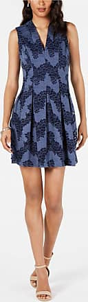 Vince Camuto Womens Navy Lace Print Sleeveless V Neck Short Pleated Cocktail Dress Size: 2
