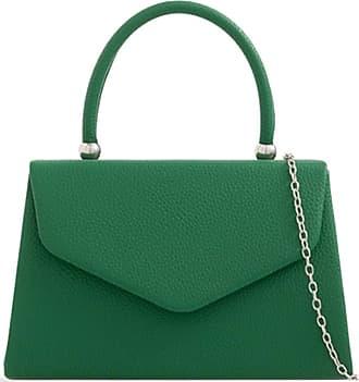 LeahWard Womens Faux Leather Clutch Bag Top Handle Wedding Handbags (Green)