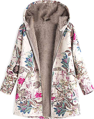 Inlefen Womens Winter Long Sleeve Printing Coat Retro Warm with Pocket Zipper Hooded Jacket Rose Red 5XL