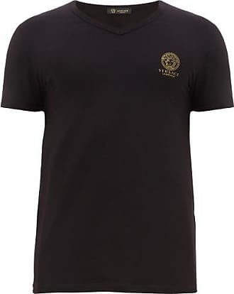 Versace Medusa-logo V-neck Cotton-blend T-shirt - Mens - Black