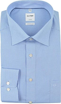Olymp Luxor long-sleeve comfort fit Kent collar checked shirt, light blue - Blue - 42