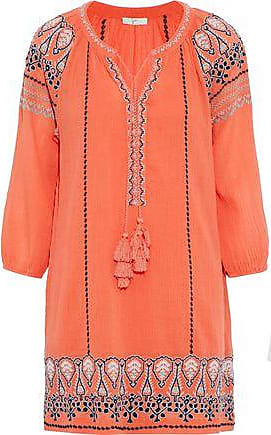 Joie Joie Woman Nieva Embroidered Crinkled Cotton-gauze Mini Dress Coral Size XXS