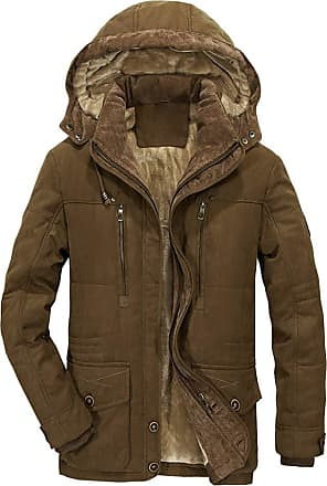 TOMWELL Parka Jacket Mens Coats with Fur Hood Winter Warmth Thicken Casual Outwear Coat Coffee Medium