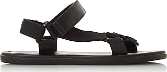 Dune London Dune Mens FLAIRSS Rip Tape Strap Adventure Sandals Size UK 10 Black Flat Heel Casual Sandals