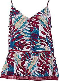 Roxy button front cami top with crochet detail and all over print