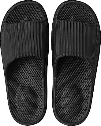 iLoveSIA 4How Women/Mens Non-Slip Shower Slippers Indoor Rubber Sandals, Black, 8 UK