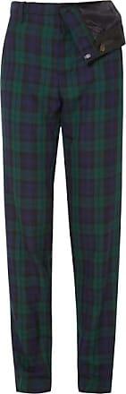 Y / Project Asymmetric Plaid Twill Straight-leg Pants - Emerald