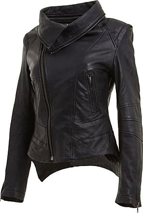 Infinity New Ladies Short Retro Black Removable Zip Neck Leather Biker Jacket Slim Fit (14)
