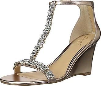 Badgley Mischka Jewel Womens Meryl Wedge Sandal, Rose Gold/Metallic, 9 M US
