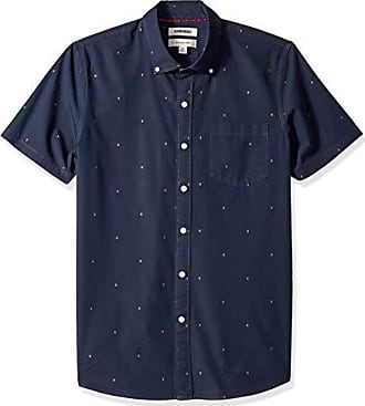Goodthreads Mens Slim-Fit Short-Sleeve Dobby Shirt, -navy arrow, Large