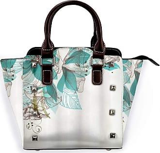 Browncin Turquoise Flowers Buds Leaf At The Top Left Corner Season Celebrating Theme Detachable Fashion Trend Ladies Handbag Shoulder Bag Messenger Bags