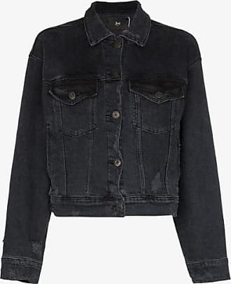 3x1 Womens Black Classic Cropped Denim Jacket