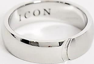 Icon Brand Anello a fascia in acciaio inossidabile argento