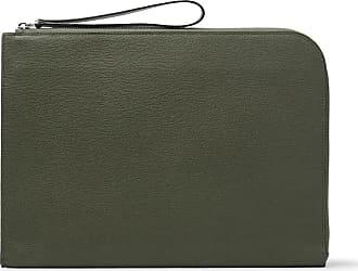 Valextra Pebble-grain Leather Portfolio - Army green