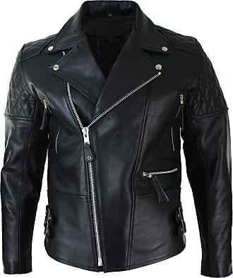 Mens Slim Fit Cross Zip Brando Washed Leather Jacket Black Brown Tan Burgundy