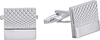 Stacy Adams Stacy Adams Mens Silver Square Crosshatch Cuff Link, One size