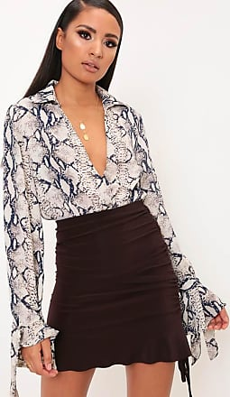 a838fc01 I Saw It First Chocolate Scuba Ruched Frill Midi Skirt - 10 / BROWN