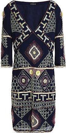 8a748a3d489cd Antik Batik Antik Batik Woman Embellished Georgette Dress Navy Size 38