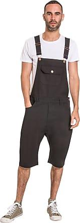 84ce75c1 Uskees Mens Dungaree Shorts - Black Bib Overall Shorts JESSESHORTBLACK-36W