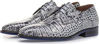 Floris Van Bommel Grauer Schnürschuh mit Krokoprint, Business Schuhe, Handgefertigt